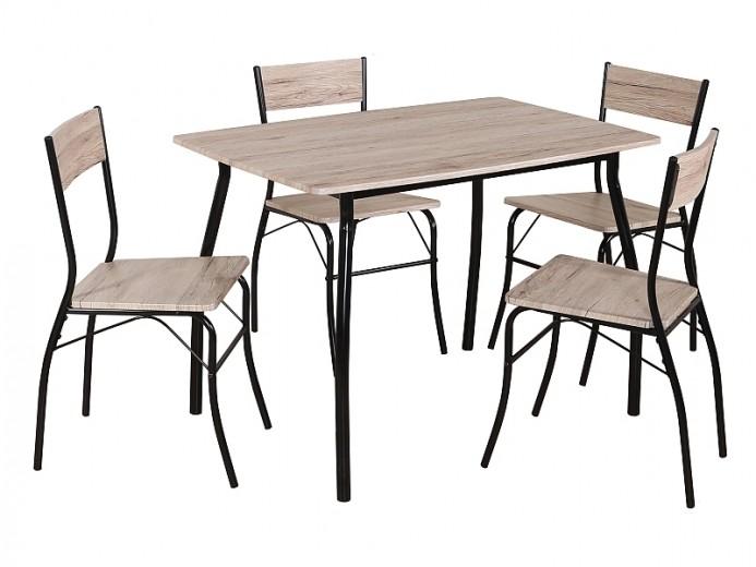 Set masa din MDF si metal + 4 scaune Modus Stejar / Negru, L110xl72xH75 cm