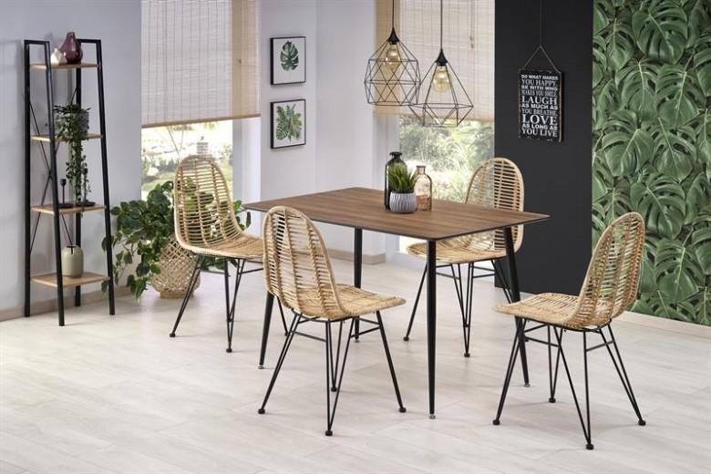 Set masa din MDF si metal Artti Nuc / Negru + 4 scaune din ratan K337 Natural, L120xl80xH76 cm