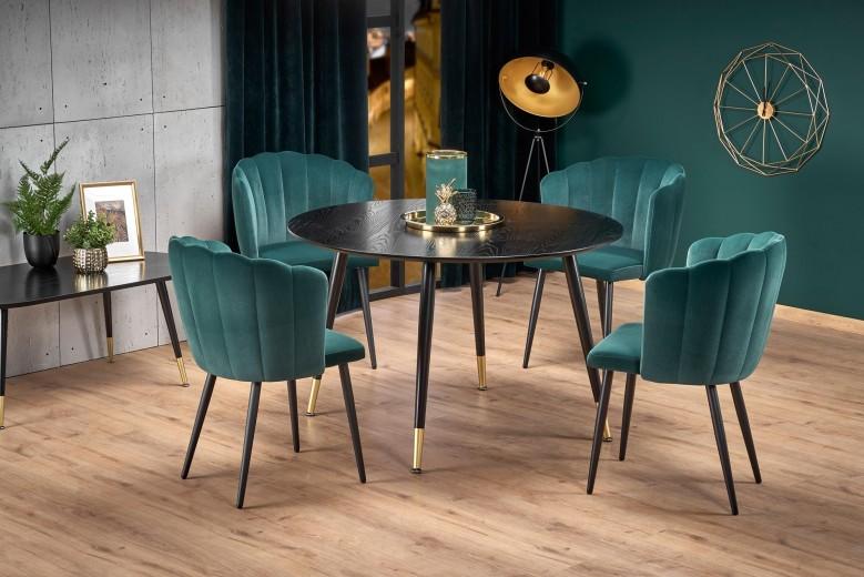 Set masa din MDF si metal Embos Negru / Auriu + 4 scaune tapitate cu stofa K386 Verde inchis / Negru, Ø120xH75 cm