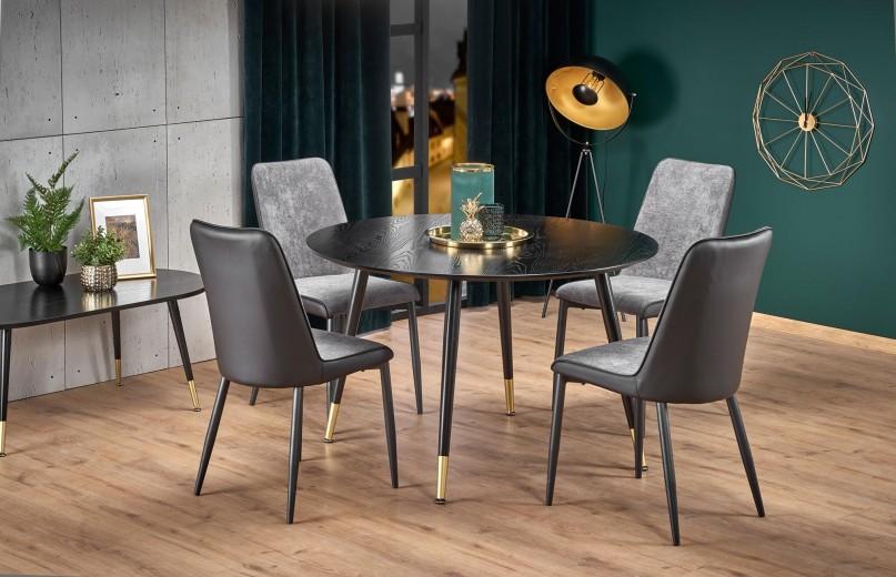 Set masa din MDF si metal Embos Negru / Auriu + 4 scaune tapitate cu stofa si piele ecologica K368 Gri inchis / Negru, Ø120xH75 cm