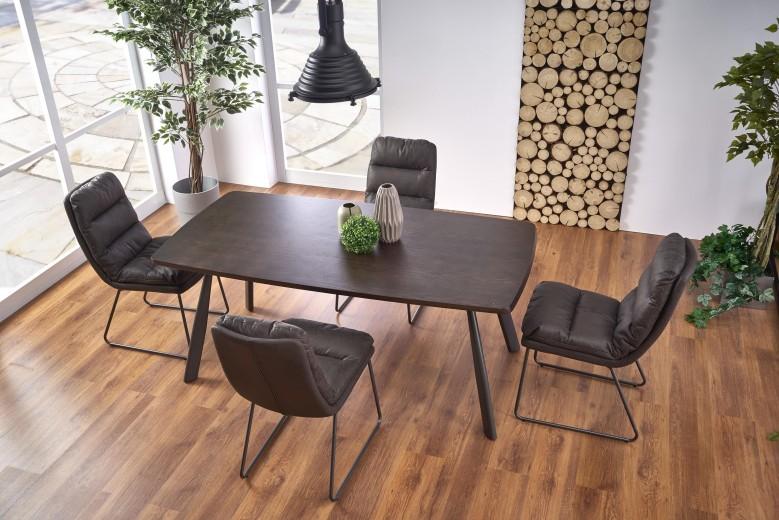 Set masa din MDF si metal Firmino Nuc / Grafit + 4 scaune tapitate cu piele ecologica K320 Gri inchis, L180xl90xH76 cm
