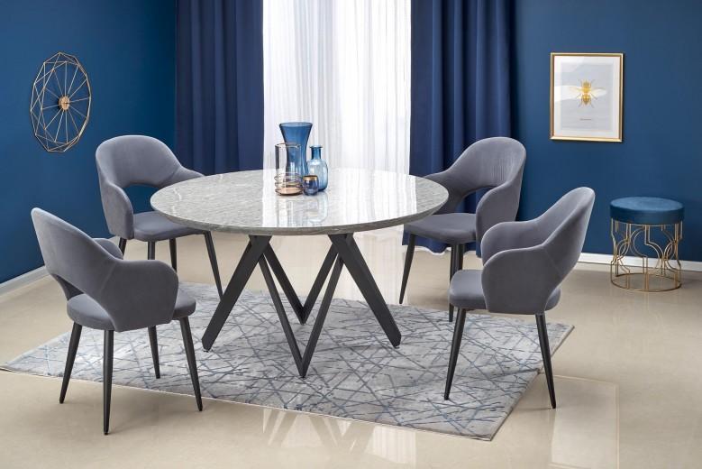 Set masa din MDF si metal Gustimo Gri / Negru + 4 scaune tapitate cu stofa K364 Gri / Negru, Ø140xH77 cm