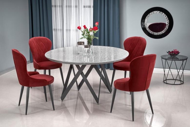 Set masa din MDF si metal Gustimo Gri / Negru + 4 scaune tapitate cu stofa K366 Bordeaux / Negru, Ø140xH77 cm