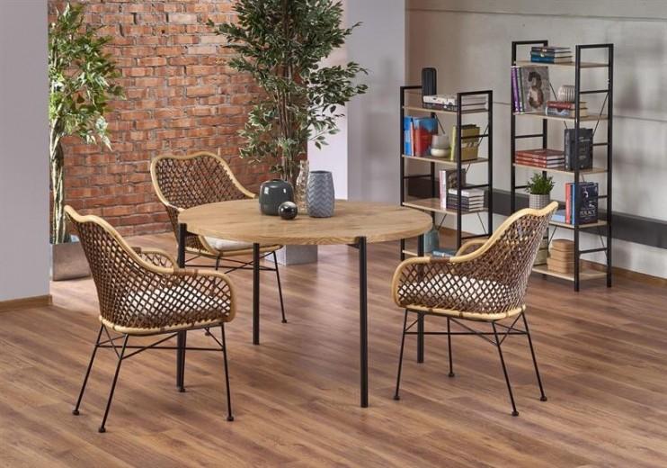 Set masa din MDF si metal Morgan Stejar / Negru + 4 scaune din ratan cu picioare metalice K336, Ø120xH76 cm