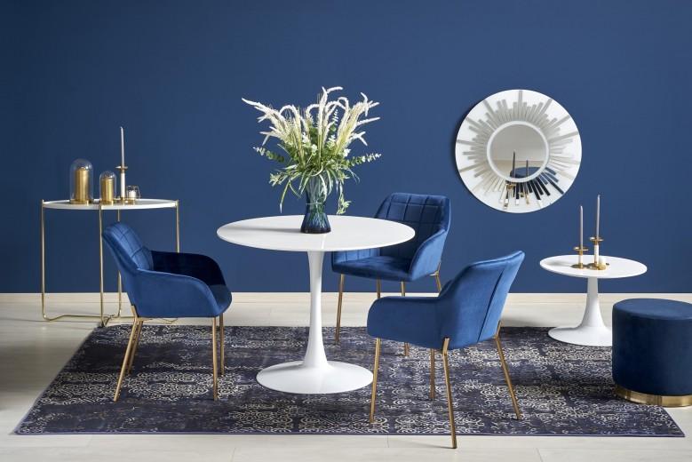 Set masa din MDF si metal Slim Alb + 3 scaune tapitate cu stofa K306 Albastru inchis / Auriu, Ø100xH75 cm