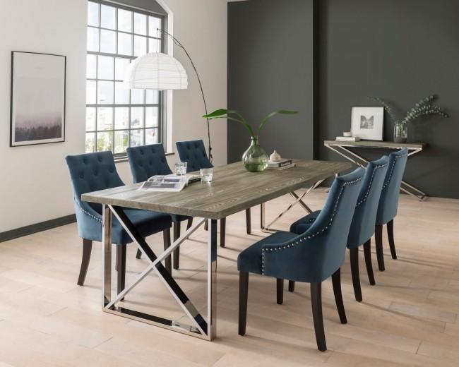 Set masa din MDF si metal Tephra Grey + 6 scaune tapitate cu stofa, cu picioare de lemn Hobbs Velvet Midnight / Wenge, L190xl90xH76 cm