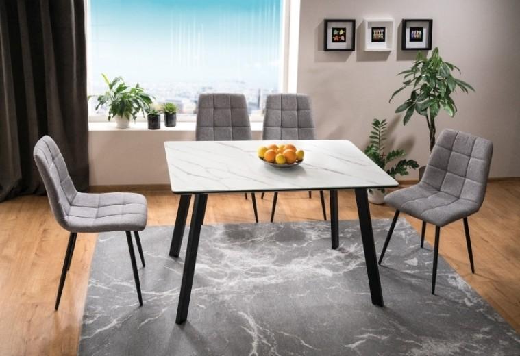 Set masa din MDF, sticla si metal Samuel Alb / Negru + 4 scaune tapitate cu stofa Mila Gri / Negru, L120xl80xH75 cm