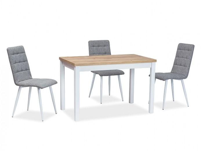 Set masa din pal si MDF Anais Stejar / Alb + 4 scaune tapitate cu stofa si picioare metalice Otto Gri / Alb, L120xl68xH75 cm