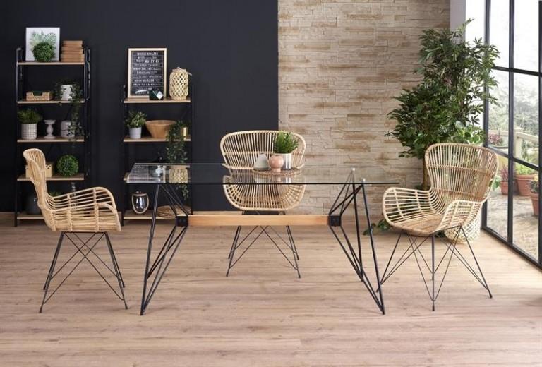 Set masa din sticla si metal Allegro + 4 scaune din ratan K335 Natural, L160xl80xH75 cm