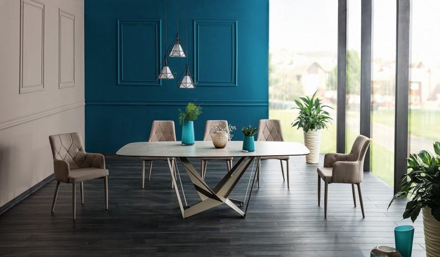 Set masa din sticla si metal Manhattan Latte + 6 scaune tapitate cu stofa Ricardo Bej, L220xl105xH76 cm