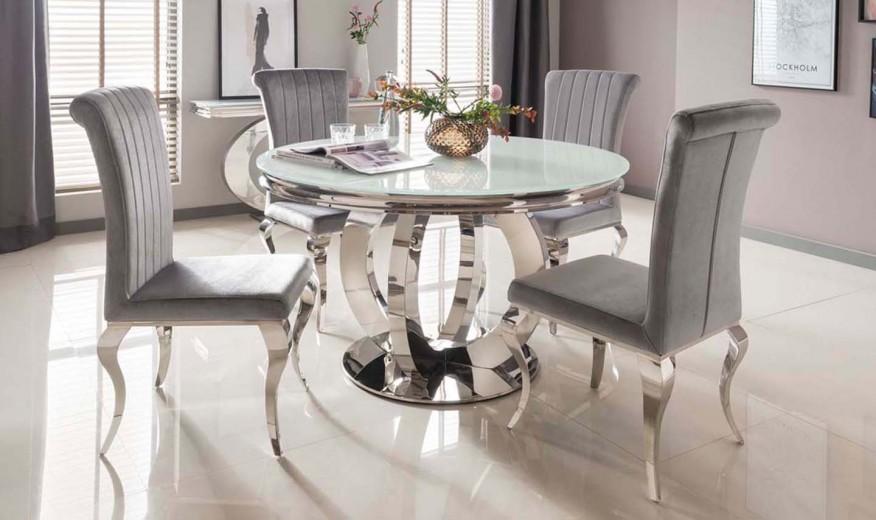Set masa din sticla si metal Orion Round White + 4 scaune tapitate cu stofa, cu picioare metalice Nicole Silver, Ø130xH75 cm
