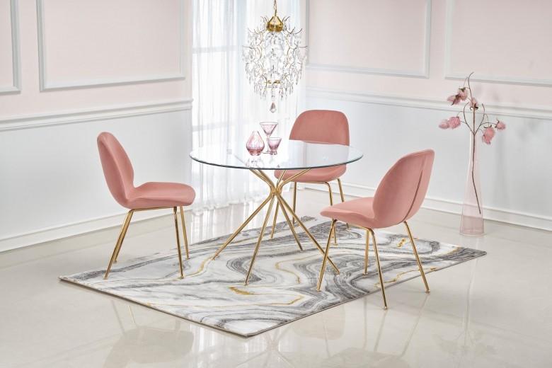 Set masa din sticla si metal Rondo Transparent / Auriu + 4 scaune tapitate cu stofa K381 Velvet Roz / Auriu, Ø110xH74 cm