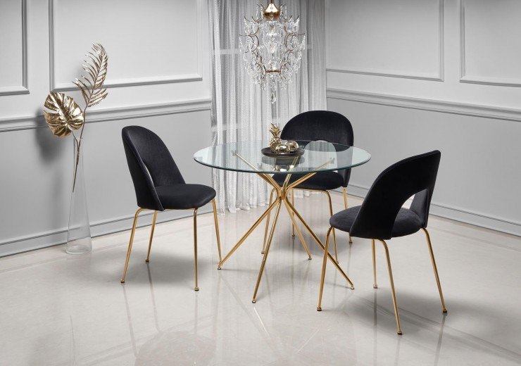 Set masa din sticla si metal Rondo Transparent / Auriu + 4 scaune tapitate cu stofa K385 Velvet Negru / Auriu, Ø110xH74 cm