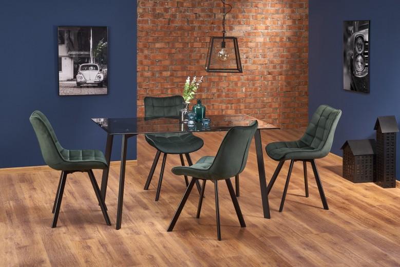 Set masa din sticla si metal Trax Negru + 4 scaune tapitate cu stofa K332 Verde inchis, L140xl80xH75 cm