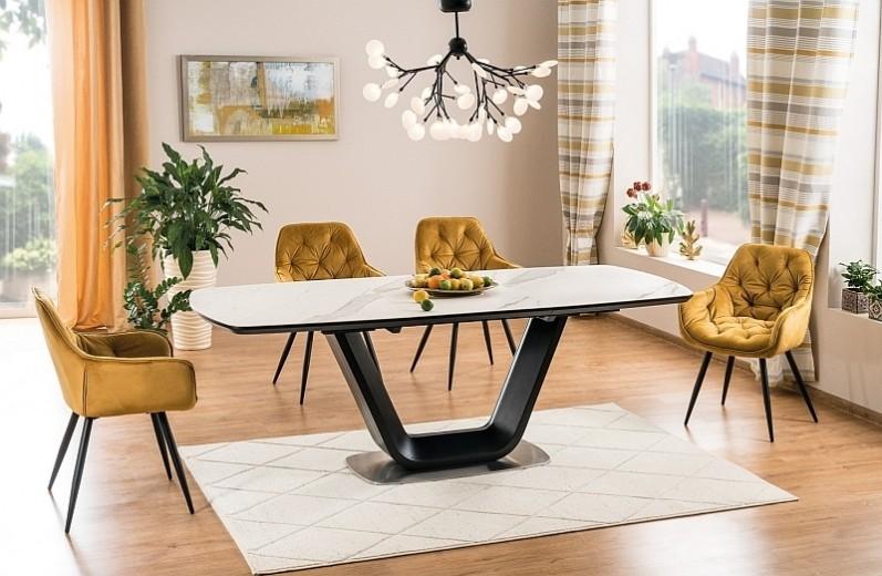 Set masa extensibila din ceramica, MDF si metal Armani Alb / Negru + 4 scaune tapitate cu stofa Cherry Velvet Mustariu / Negru, L160-220xl90xH76 cm