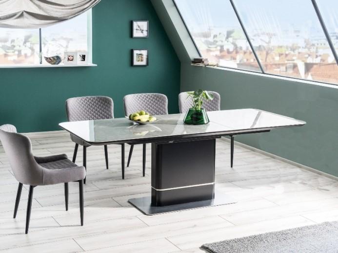 Set masa extensibila din ceramica, MDF si metal Pallas Gri / Negru + 4 scaune tapitate cu stofa Colin B Gri / Negru, L160-210xl90xH76 cm