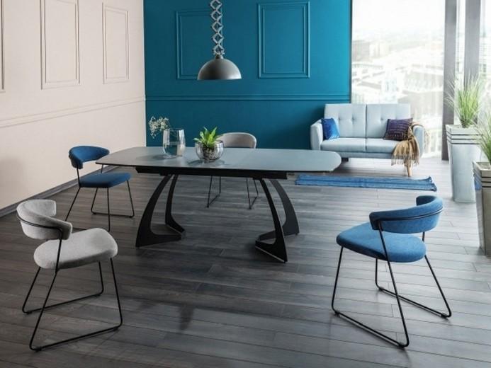 Set masa extensibila din ceramica, sticla si metal Martinez Gri / Negru + 2 scaune tapitate Helix Albastru + 2 scaune tapitate Helix Gri, L160-210xl90xH76 cm