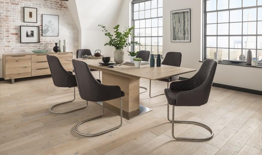 Set masa extensibila din furnir si metal Bremen Natural + 6 scaune tapitate stofa, cu picioare din metal Urbino Grey, L190-240xl95xH75 cm