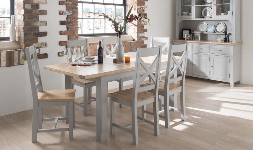 Set masa extensibila din lemn de salcam si stejar + 6 scaune Clemence Grey / Oak, L150-190xl90xH78 cm