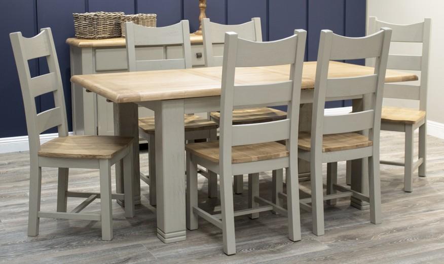 Set masa extensibila din lemn de stejar si furnir Logan Taupe + 6 scaune din lemn de stejar si furnir Logan Taupe, L140-180xl90xH79 cm