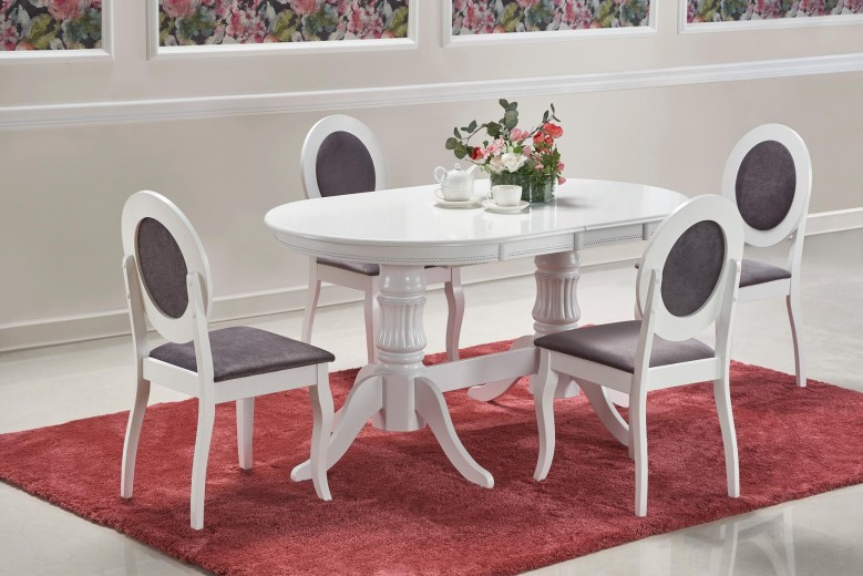 Set masa extensibila din lemn si MDF Joseph Alb + 4 scaune tapitate cu stofa Barock Alb / Gri, L150-190xl90xH77 cm
