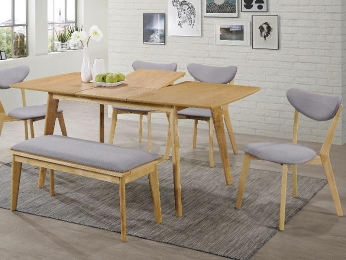 Set masa extensibila din MDF, furnir si lemn Brando + 4 scaune tapitate cu stofa Brando Gri + 1 banca tapitata cu stofa Brando Gri / Stejar, L120-160xl80xH75 cm