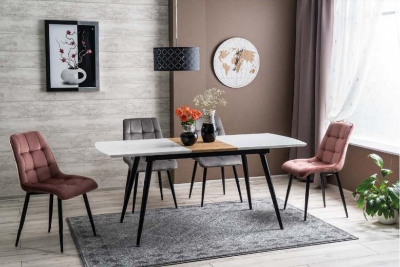 Set masa extensibila din MDF, pal si metal Davos Alb / Negru + 2 scaune tapitate Chic Velvet Roz + 2 scaune tapitate Chic Velvet Gri, L140-180xl80xH75 cm