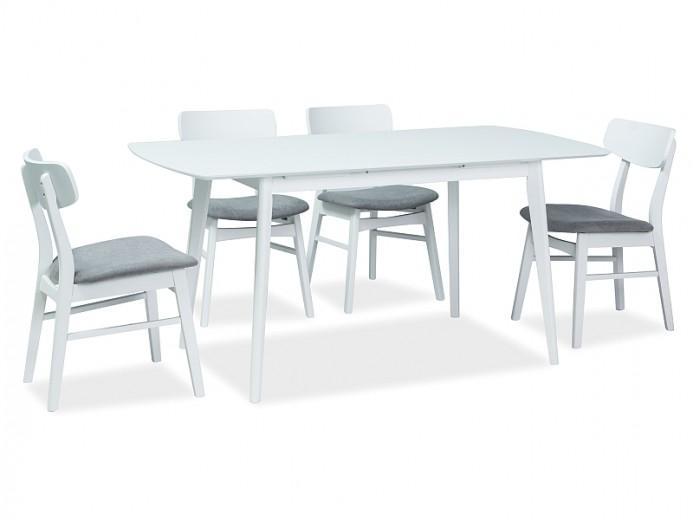 Set masa extensibila din MDF si lemn Combo II Alb + 4 scaune din lemn, tapitate cu stofa Frans Gri / Alb, L120-160xl80xH75 cm