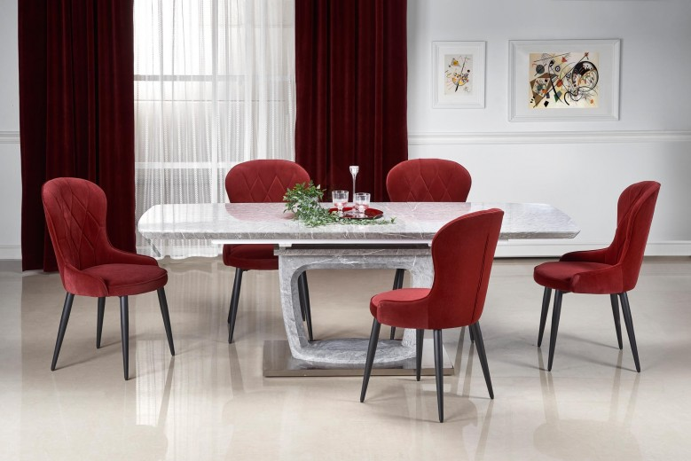 Set masa extensibila din MDF si metal Artemon Gri + 6 scaune tapitate cu stofa K366 Bordeaux / Negru, L160-220xl90xH76 cm