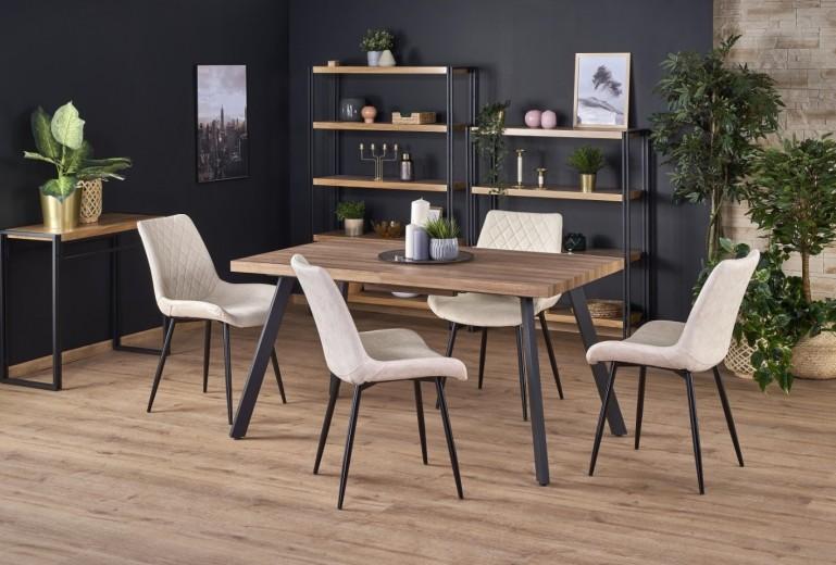Set masa extensibila din MDF si metal Berlin Nuc auriu + 4 scaune tapitate cu piele ecologica K313 Bej, L140-180xl85xH76 cm