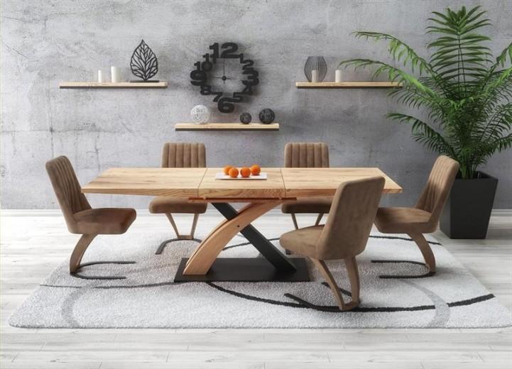 Set masa extensibila din MDF si metal Sandor 3 Stejar auriu + 4 scaune tapitate cu piele ecologica K338 Maro, L160-220xl90xH77 cm