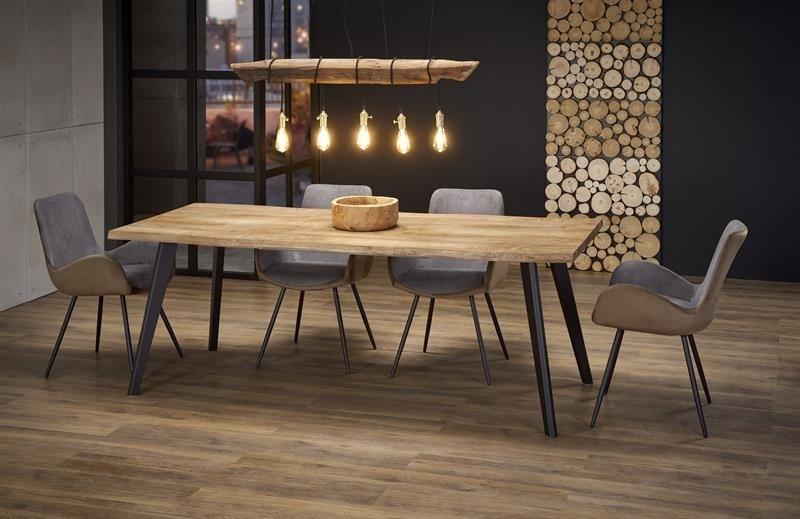 Set masa extensibila din MDF si metal Dickson Stejar / Negru + 4 scaune tapitate cu stofa K392 Velvet Gri Inchis / Maro, L150-210xl90xH75 cm