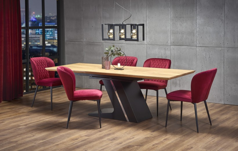 Set masa extensibila din MDF si metal Ferguson Stejar / Negru + 6 scaune tapitate cu stofa K399 Bordeaux, L160-220xl90xH75 cm