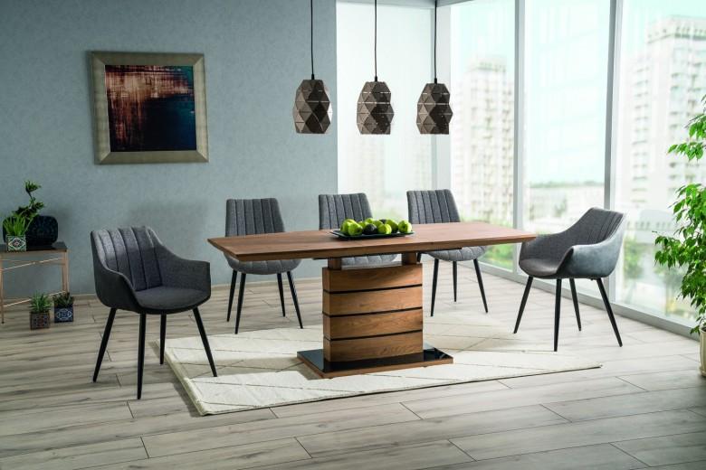 Set masa extensibila din MDF si sticla Leonardo Large Stejar / Negru + 4 scaune tapitate Zoom Gri / Negru + 2 scaune tapitate Bruno Gri / Negru, L160-220xl90xH76 cm