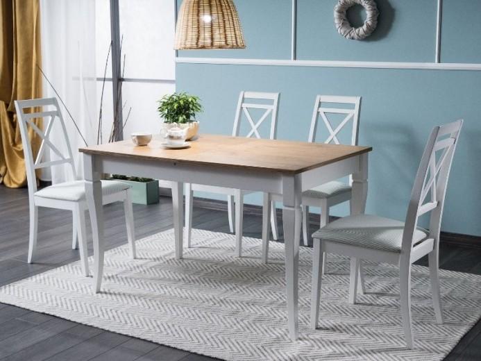 Set masa extensibila din pal si lemn Magnus Stejar Sonoma / Alb + 4 scaune din lemn tapitate cu stofa Arick Alb / Verde, L125-170xl75xH75 cm