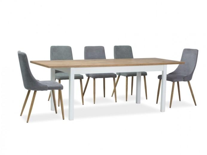 Set masa extensibila din pal si MDF Wendy Stejar Lancelot / Alb + 6 scaune tapitate cu stofa Nobel Gri / Stejar, L140-190xl75xH75 cm