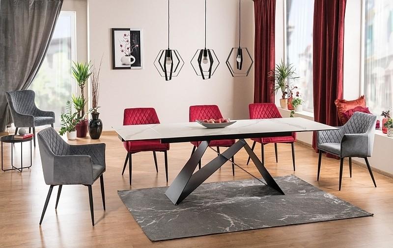 Set masa extensibila din sticla, ceramica si metal Westin III + 4 scaune tapitate Sergio Velvet Bordeaux + 2 scaune tapitate Sergio Velvet Gri, L160-240xl90xH76 cm