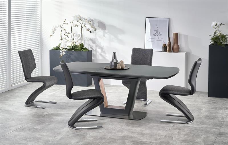 Set masa extensibila din sticla si MDF Bilotti Antracit + 4 scaune tapitate cu stofa si piele ecologica K307 Gri inchis / Negru, L160-200xl90xH76 cm