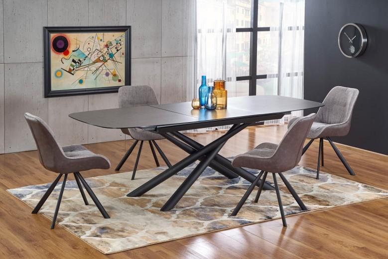 Set masa extensibila din sticla si metal Capello Gri inchis / Negru + 4 scaune tapitate cu stofa si piele ecologica K393 Gri deschis / Maro L180-240xl95xH77 cm