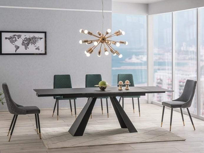 Set masa extensibila din sticla si metal Salvadore Negru + 2 scaune Piano Velvet Gri + 4 scaune Piano Velvet Verde, L160-240xl90xH76 cm