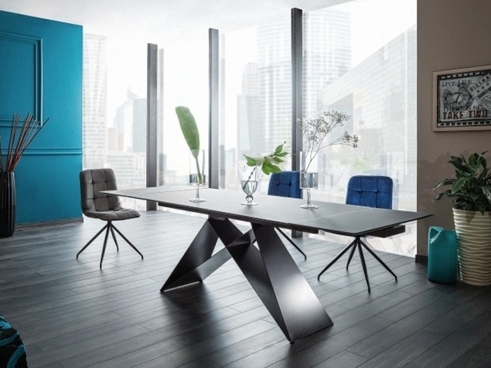 Set masa extensibila din sticla si metal Westin Negru + 2 scaune tapitate Texo Velvet Bleumarin +2 scaune tapitate Texo Velvet Negru, L160-240xl90xH76 cm