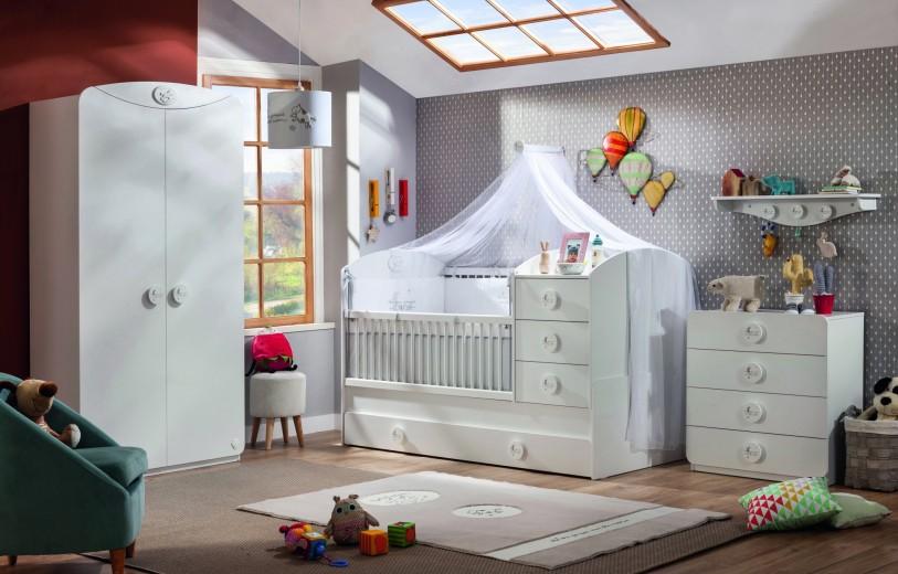 Set Mobila din pal pentru camera bebe, 4 piese Baby Cotton White