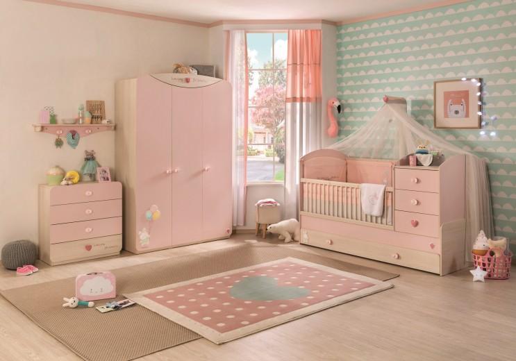 Set Mobila din pal pentru camera bebe, 4 piese Baby Girl Light Pink / Nature