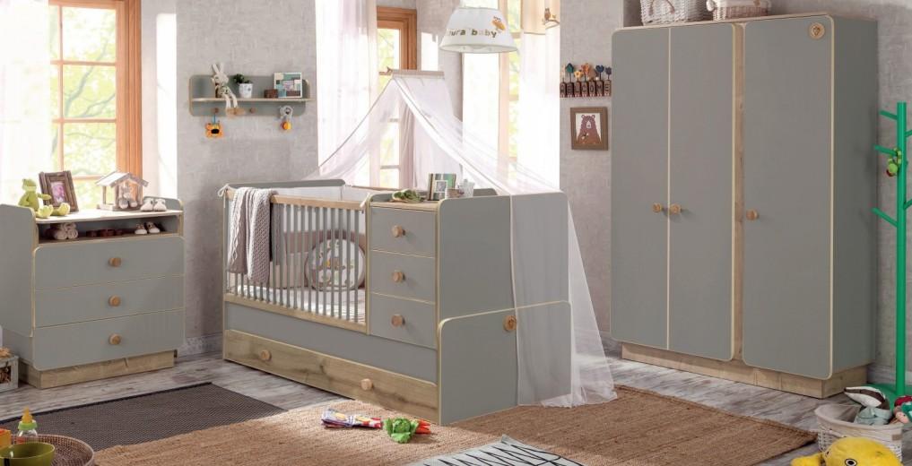 Set Mobila din pal pentru camera bebe, 4 piese Baby Grey / Natural, 180 x 80 cm