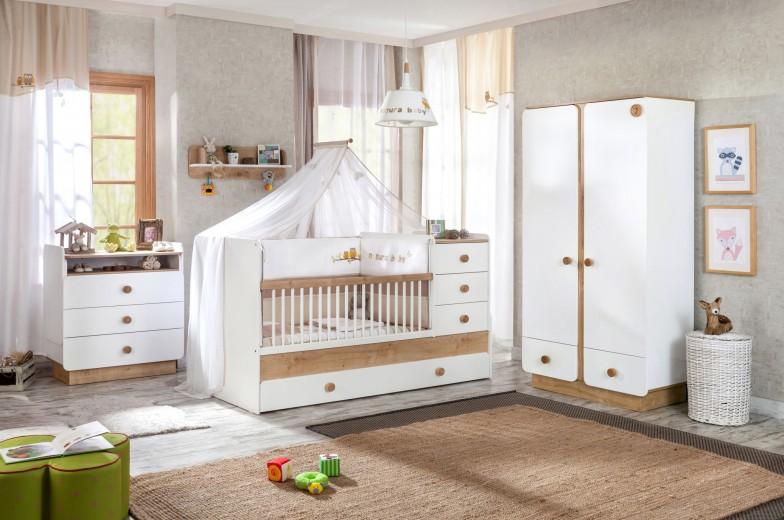 Set Mobila din pal pentru camera bebe, 4 piese Natura Baby White / Nature
