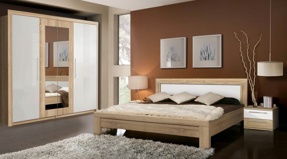 Set Mobila Dormitor din pal, 4 piese Jelte Stejar Sonoma / Alb-200 x 160 cm