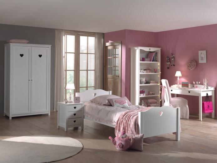 Set Mobila dormitor din lemn de pin si MDF, pentru copii 5 piese Amori Alb, 200 x 90 cm