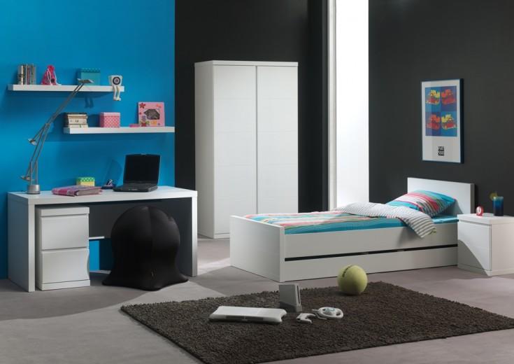 Set Mobila dormitor din lemn de pin si MDF, pentru copii 7 piese Lara Alb, 200 x 90 cm