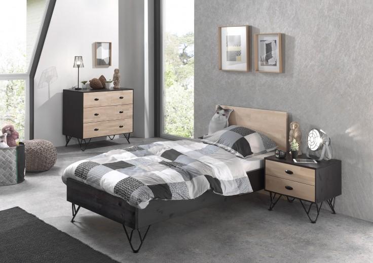 Set Mobila dormitor din lemn de pin si mesteacan, pentru copii 3 piese William Natural / Negru, 200 x 90 cm