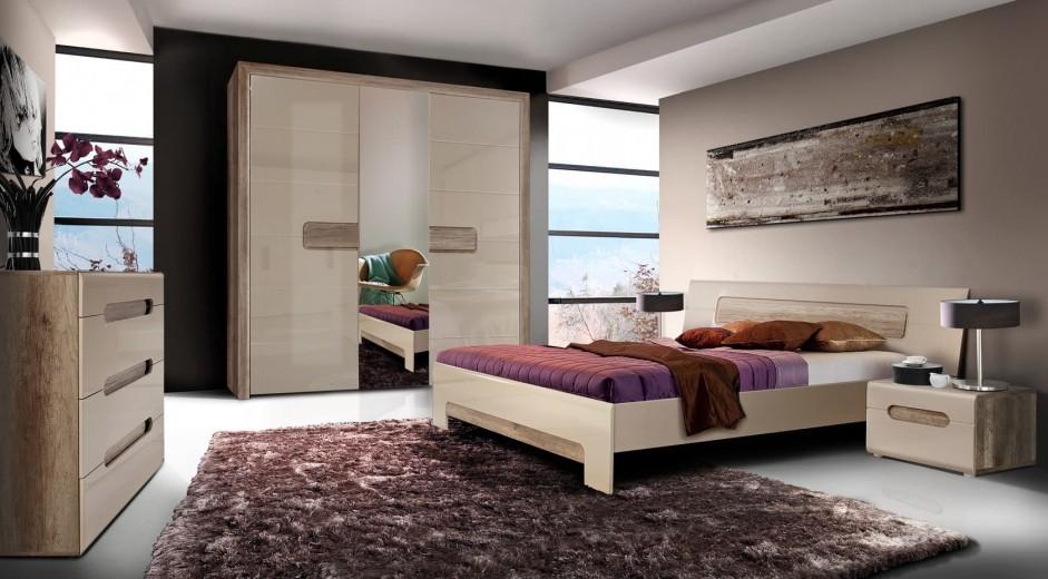 Set Mobila Dormitor din pal, 5 piese Tadita Stejar / Bej-200 x 160 cm